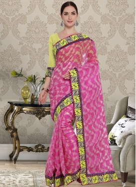 Net Rose Pink and Yellow Trendy Classic Saree