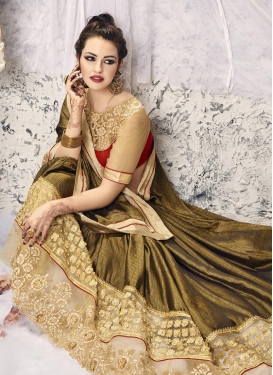 Nice Beige and Brown Embroidered Work  Classic Saree