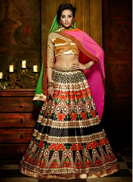 Nice Black And Orange Color Party Wear Lehenga Choli