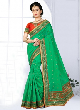 Nice Chanderi Silk Lace Work Trendy Saree
