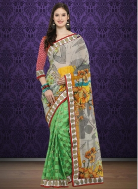 Nice Mint Green and Off White Half N Half Trendy Saree For Casual