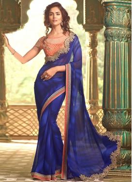 Nice Navy Blue Lace Work Trendy Designer Saree