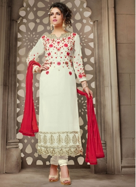 Nice Off White and Red Embroidered Work Faux Georgette Long Length Pakistani Salwar Suit For Festival