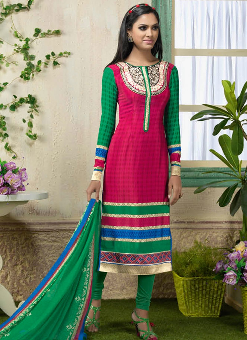 Nice Resham And Lace Work Churidar Suit