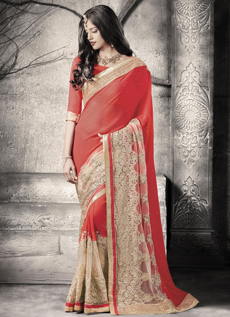 Nice Stone And Embroidery Work Wedding Saree