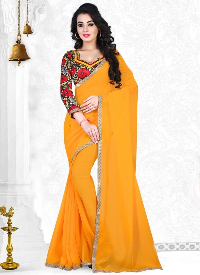 Nice Stone And Lace Work Casual Saree
