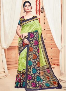 Noble Art Silk Aloe Veera Green and Black Trendy Saree For Casual