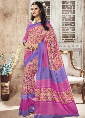 Noble Art Silk Print Work Traditional Saree For Casual