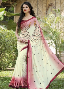 Noble  Cream and Salmon Contemporary Style Saree For Ceremonial