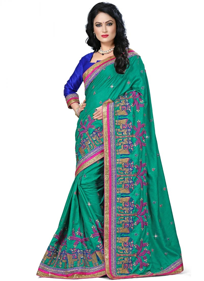 Noble Embroidery Work Manipuri Silk Designer Saree