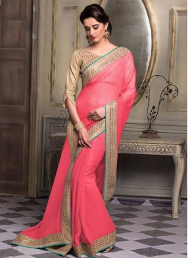 Noble  Faux Chiffon Lace Work Contemporary Style Saree