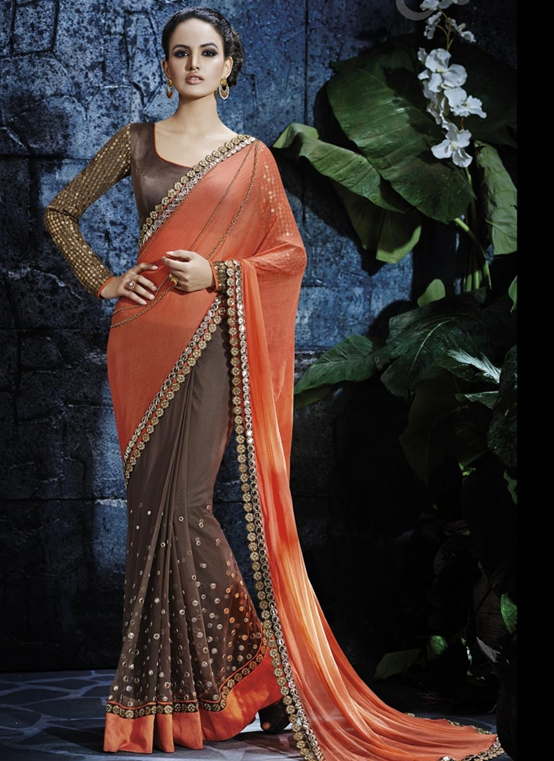 Noble Mirror Work Half N Half Designer Saree