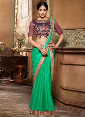 Noble Navy Blue and Sea Green Trendy Classic Saree