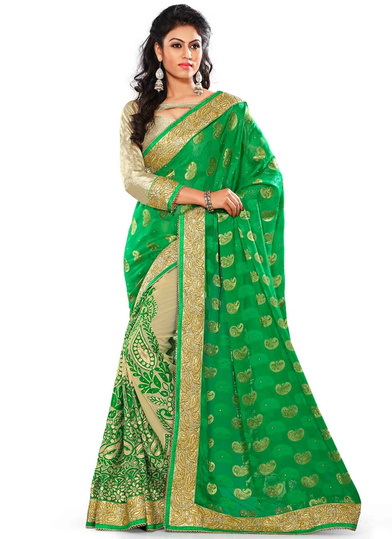 Noble Net And Viscose Half N Half Wedding Saree