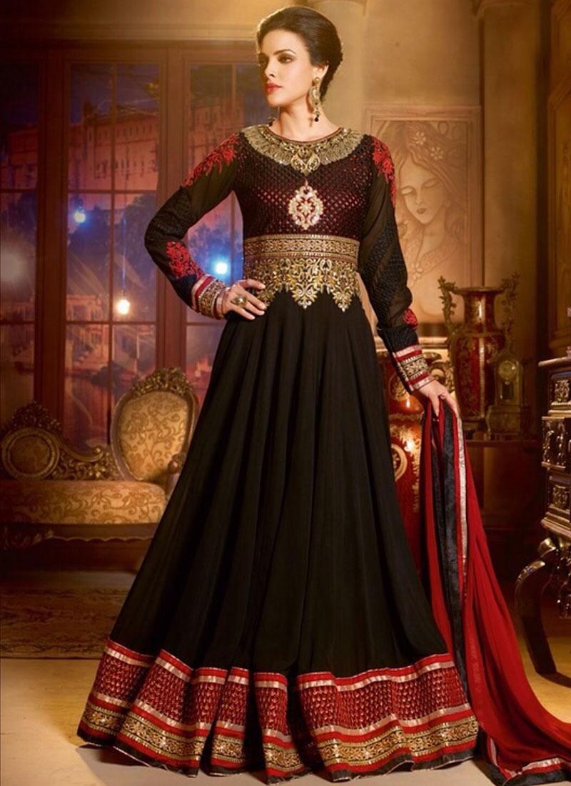 Noble Patch And Lace Work Long Length Anarkali Salwar Kameez