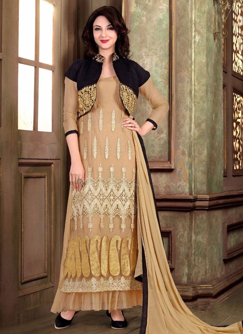 Noble Resham Work Jacket Style Designer Salwar Kameez