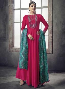 Nylon Readymade Floor Length Gown