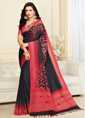 Nylon Silk Black and Rose Pink Contemporary Saree