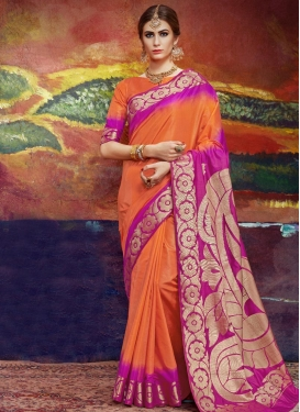 Nylon Silk Fuchsia and Orange Contemporary Style Saree