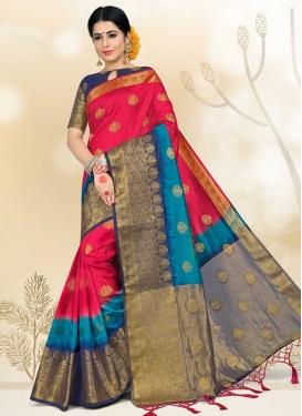 Nylon Silk Light Blue and Navy Blue Thread Work Designer Contemporary Saree