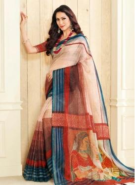 Nylon Silk Print Work Trendy Classic Saree