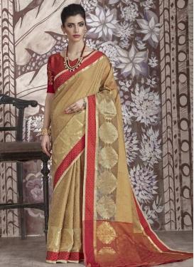 Nylon Silk Thread Work Beige and Crimson Classic Saree
