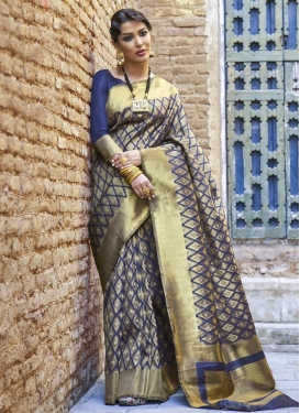 Nylon Silk Thread Work Contemporary Style Saree