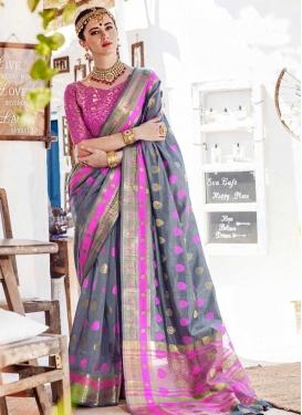 Nylon Silk Thread Work Contemporary Style Saree