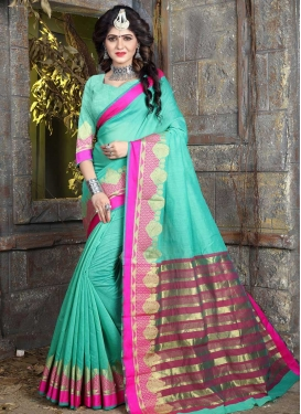 Nylon Silk Thread Work Trendy Classic Saree
