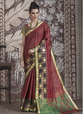 Nylon Silk Thread Work Trendy Saree