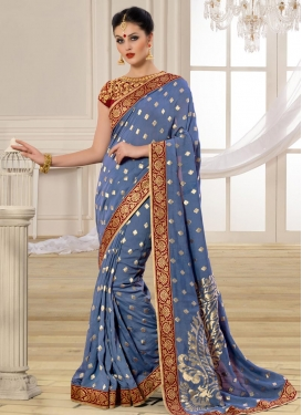 Observable Banarasi Silk Block Print Work Contemporary Saree