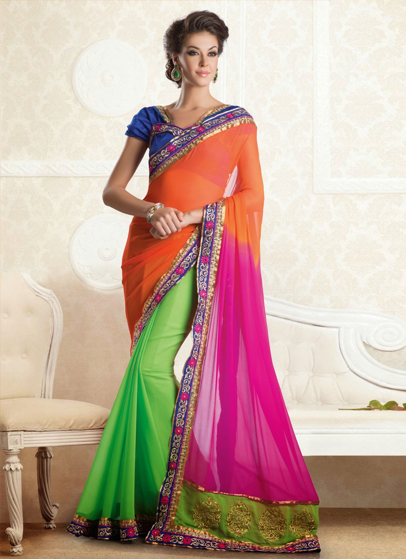 Observable Booti And Stone Work Chiffon Party Wear Saree
