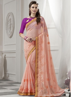 Observable  Faux Georgette Contemporary Saree For Festival