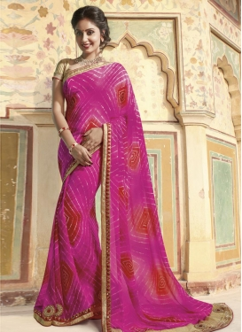 Observable  Faux Georgette Designer Contemporary Style Saree For Festival
