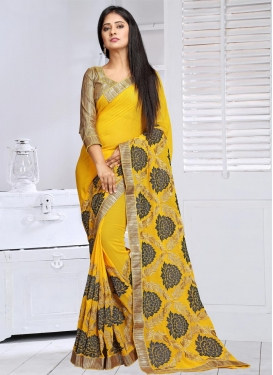 Observable Faux Georgette Embroidered Work Contemporary Style Saree For Festival