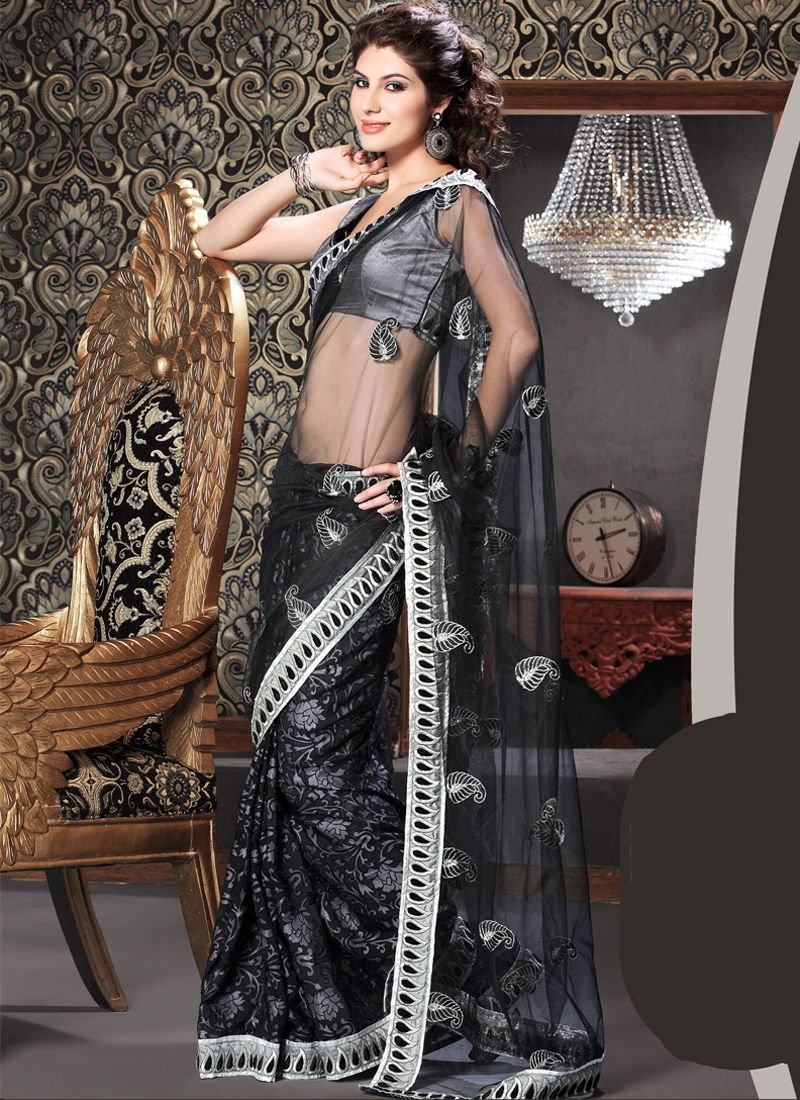 Observable Floral Enhanced Party Wear Saree