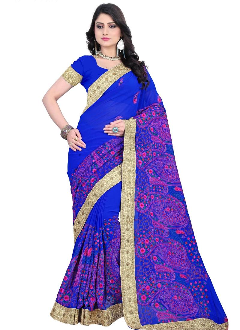 Observable Floral Work Blue Color Wedding Saree