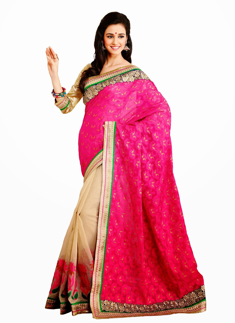 Observable Lace And Resham Work Half N Half Saree