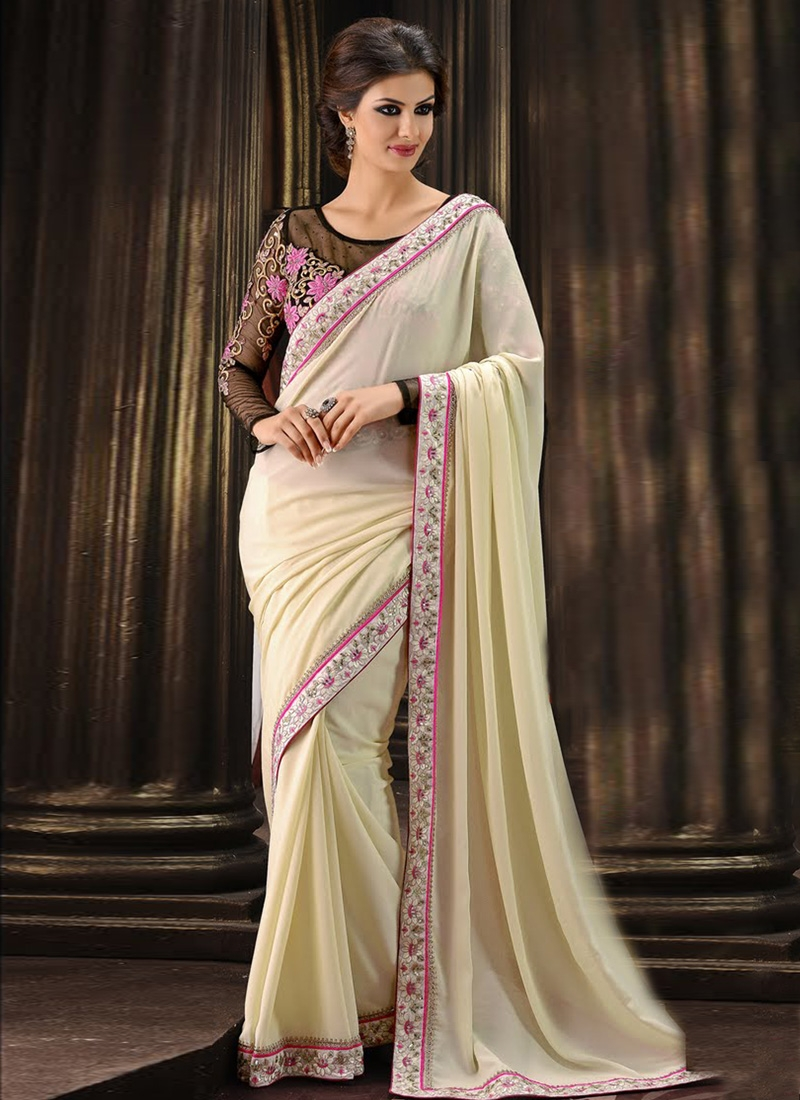 Observable Lace And Sequins Work Party Wear Saree