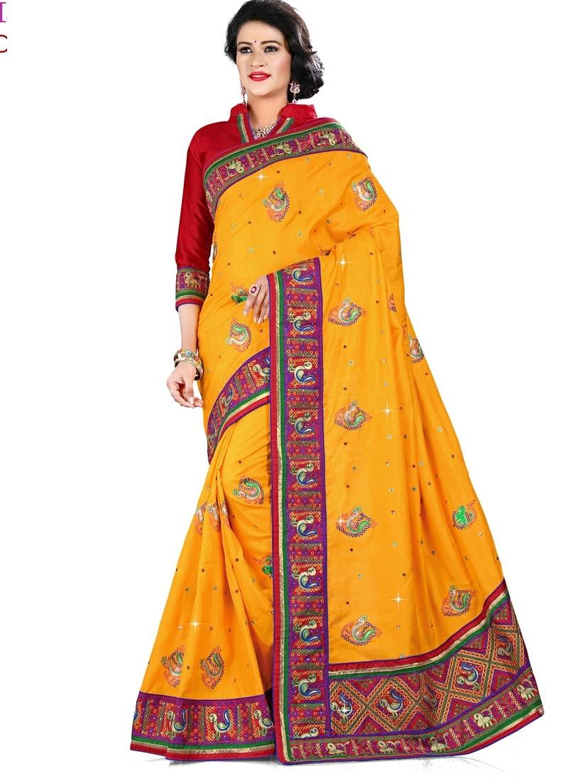 Observable Lace Work Manipuri Silk Designer Saree
