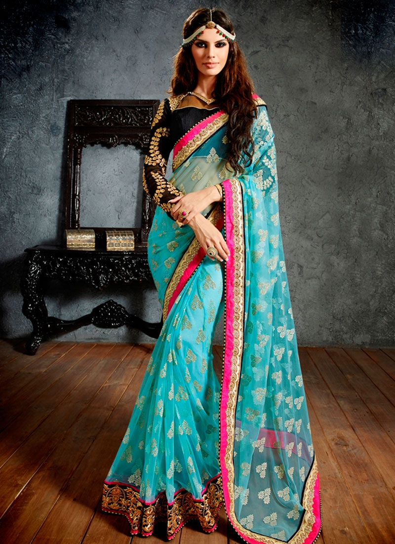 Observable Light Blue Color Net Wedding Saree