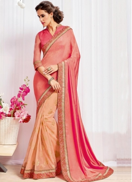 Observable Net Beads Work Peach and Salmon Half N Half Saree