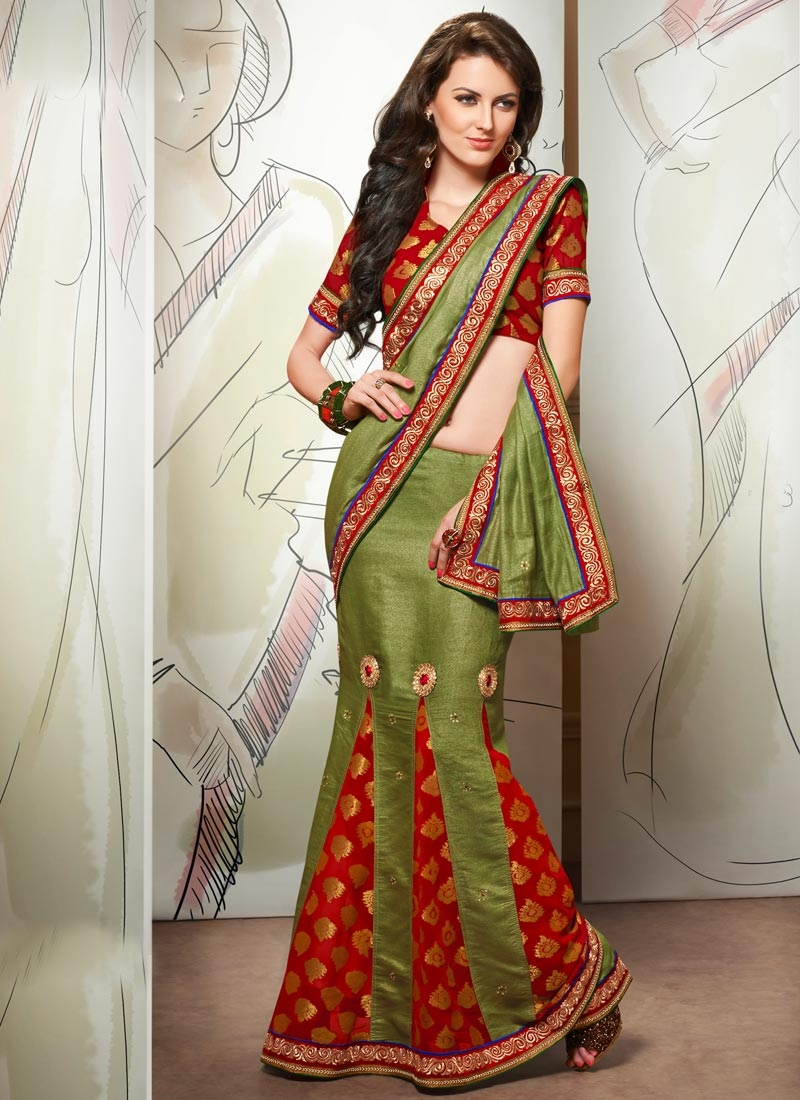 Observable Olive Color Pasmina Lehenga Saree