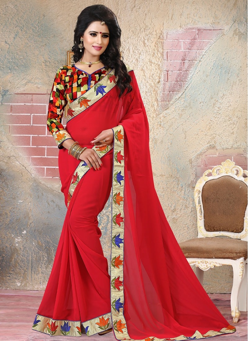 Observable Red Color Party Wear Saree