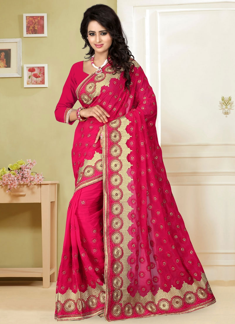 Observable Stone And Lace Work Designer Saree
