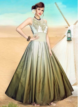 Off White and Olive Satin Beads Work Readymade Classic Gown