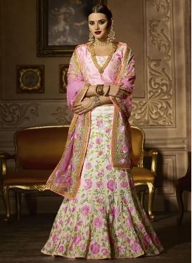 Off White and Pink Banglori Silk A Line Lehenga Choli