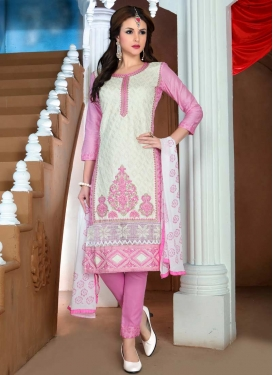 Off White and Pink Booti Work Pant Style Straight Salwar Kameez