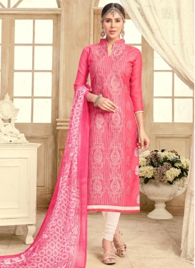 Off White and Pink Chanderi Cotton Trendy Straight Salwar Suit