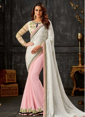 Off White and Pink Half N Half Trendy Saree For Festival